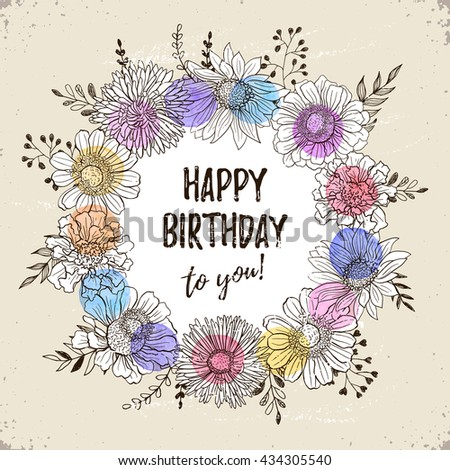 Happy birthday retro poster greeting card stock vector 434305540 happy birthday retro poster greeting card with flowers hand drawn in vintage style decorative bookmarktalkfo Image collections