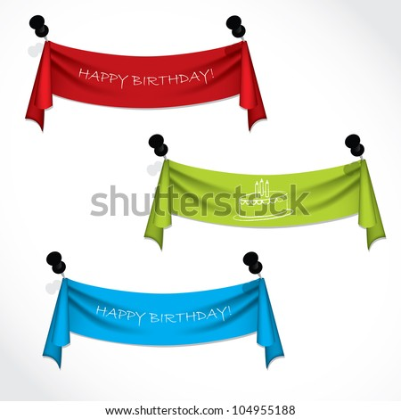 Happy birthday ribbons hanging on push pins - stock vector