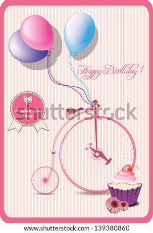 happy birthday romantic card - stock vector