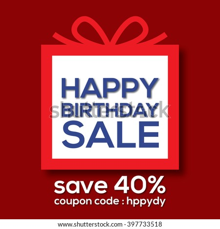 Happy Birthday Sale Banner Vector Illustration