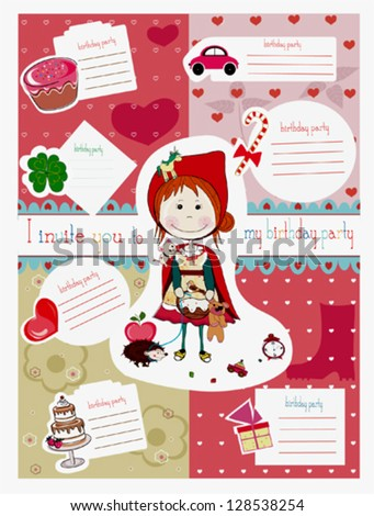 happy birthday scrapbook set,  with invitation cards for birthday party. - stock vector