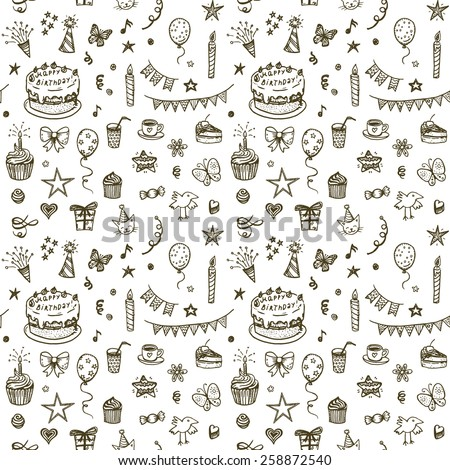 Happy Birthday seamless hand drawn background. - stock vector