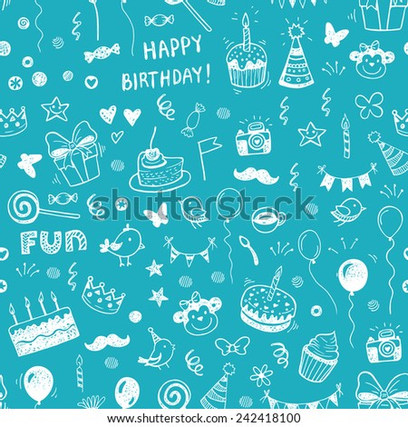 Happy birthday seamless hand drawn background pattern in vector - stock vector