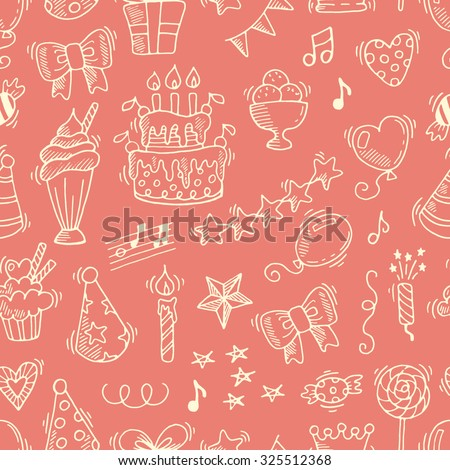 Happy birthday seamless pattern. Hand drawn vector background for your design.