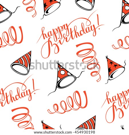 Happy birthday!  Seamless pattern with party hats. Hand-drawn illustration. Vector. - stock vector