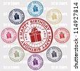 happy birthday set of stamps - stock vector