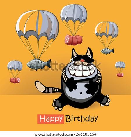 Happy Birthday smile cat gift - stock vector