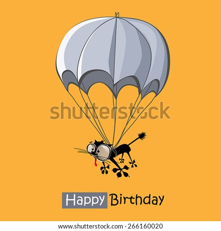 Happy Birthday smile cat parachute - stock vector