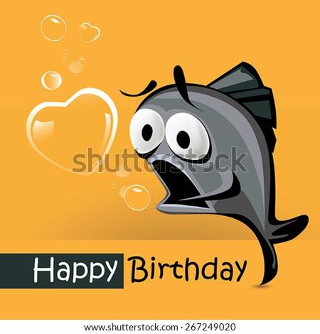 Happy Birthday smile fish love - stock vector