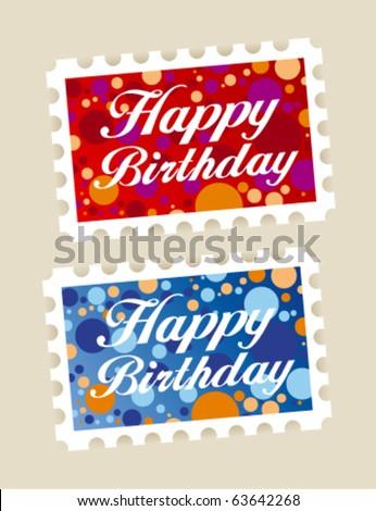 Happy birthday stamps stickers set - stock vector