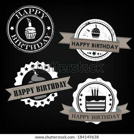 Happy birthday stickers - stock vector