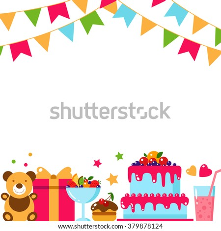 Illustration Happy Birthday Card Colorful Cake Stock Vector ...