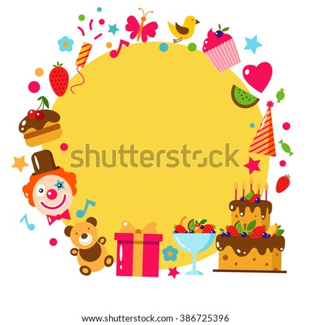 Happy birthday template card flat vector stock vector 386725396 happy birthday template card flat vector illustration kids party and celebration design elements bookmarktalkfo Choice Image
