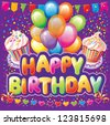 Happy birthday text on background with party element - stock vector