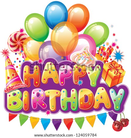 Happy birthday text with party element - stock vector