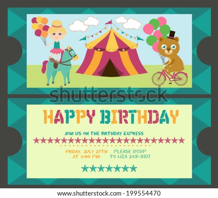 Happy Birthday Ticket Invitation Stock Vector   Shutterstock
