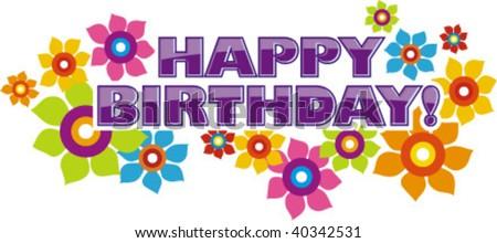 happy birthday title - stock vector