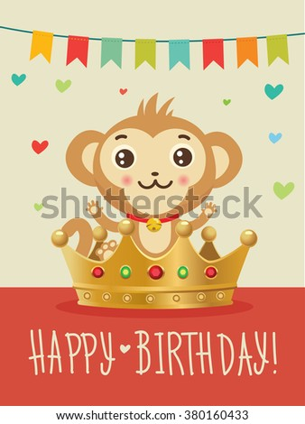 Happy Birthday To You.Chinese Zodiac   Monkey. Greeting Card. Birthday  Image.