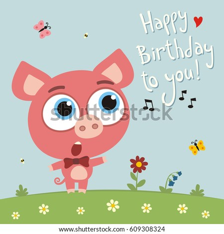 Happy birthday you funny goat sings stock vector 612194171 happy birthday to you funny pig sings birthday song card with pig in cartoon bookmarktalkfo Images