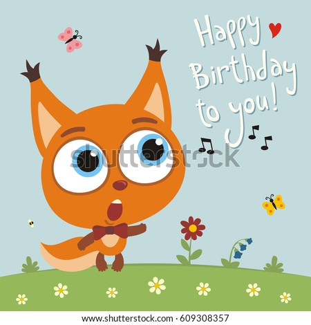 Happy Birthday You Funny Squirrel Sings Stock Vector 609308357
