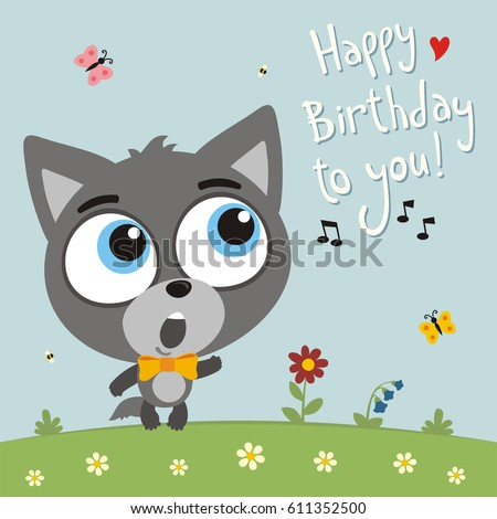 Happy Birthday You Funny Goat Sings Vector 612194171 – Happy Birthday Cards with Songs
