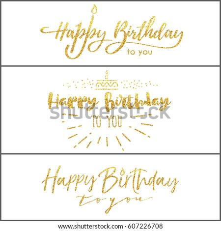 happy birthday you lettering gold frame stock vector gold happy birthday calligraphy stock images royalty free 146