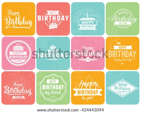 Happy Birthday typographic set. Vector design for greeting cards, print and cloths. Isolated Birthday lettering compositions. - stock vector