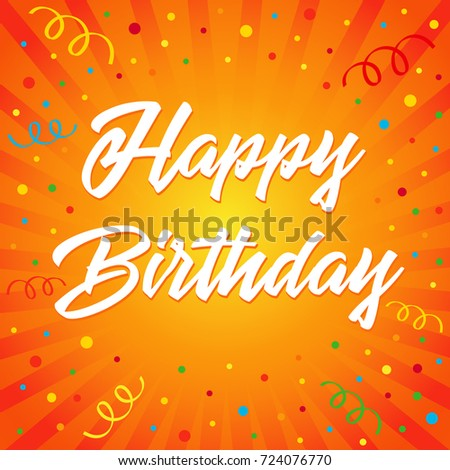 Happy birthday typographic vector design greeting stock vector happy birthday typographic vector design for greeting card colored confetti on flash radial lines birthday bookmarktalkfo Gallery