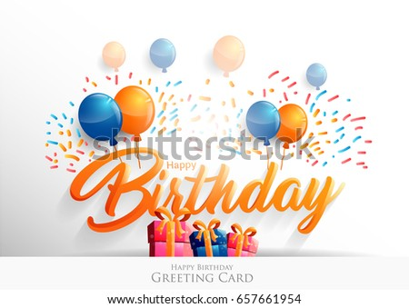 Happy Birthday Typographic Vector Design Greeting Vector – Text Birthday Card