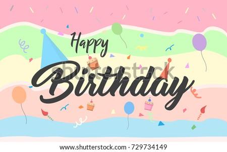 Happy Birthday Design Vector ~ Happy birthday typographic vector design cake stock vector 729734149