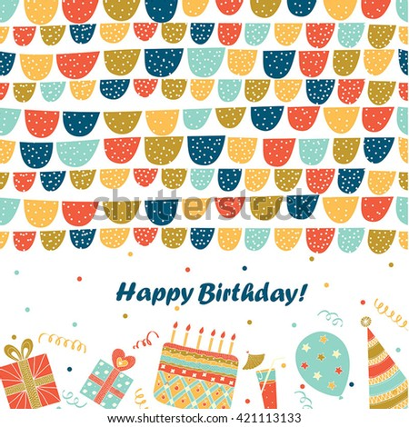Happy Birthday - vector birthday card, party invitation, banner.