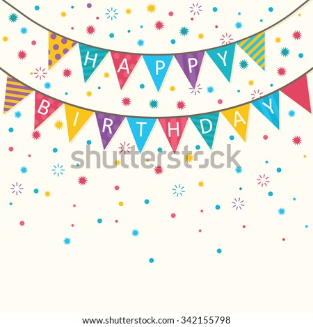 Happy Birthday - vector birthday card, party invitation, banner, eps10 - stock vector