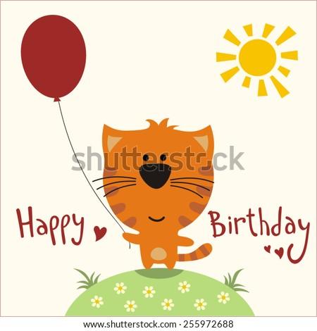 Happy birthday - vector card funny kitten with balloon, handwritten text. - stock vector