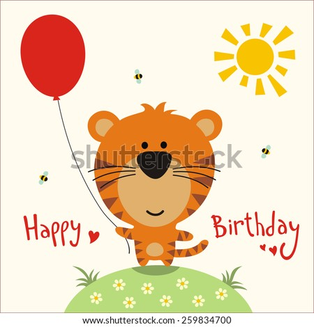 Happy birthday - vector card funny little tiger with balloon, handwritten text. - stock vector