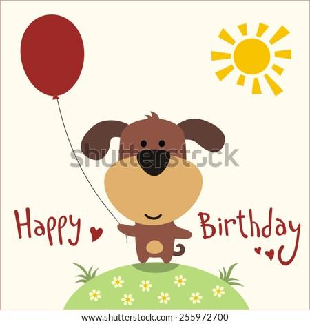 Happy birthday - vector card funny puppy with balloon, handwritten text. - stock vector