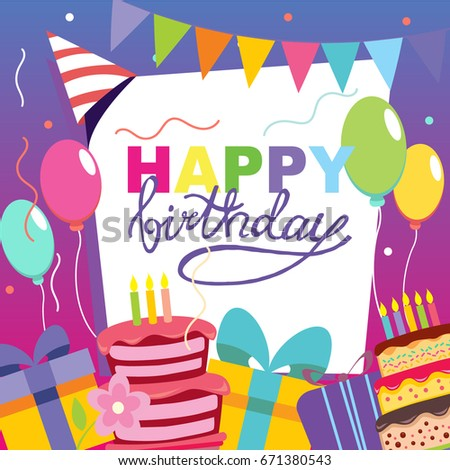 Happy birthday vector card hand drawn stock vector 671380543 happy birthday vector card hand drawn vector illustration invitation template design stopboris Gallery