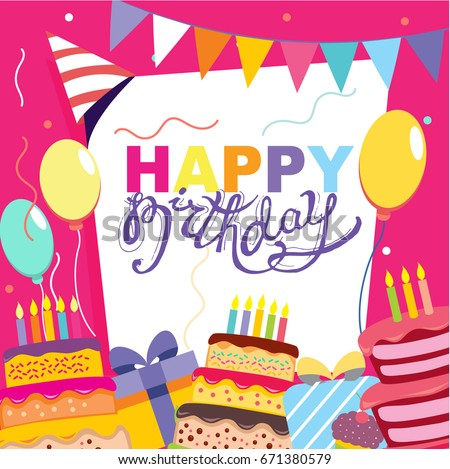 Happy birthday vector card hand drawn stock vector 671380579 happy birthday vector card hand drawn vector illustration invitation template design stopboris Gallery