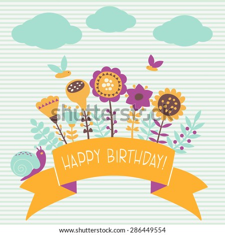Happy Birthday! - vector card with flowers - stock vector