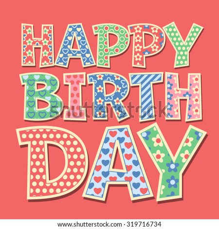 Happy birthday vector card with redneck style letters - stock vector