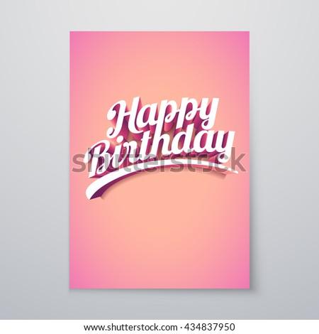 Happy Birthday Vector custom 3d hand lettering typographic poster design. - stock vector