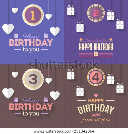 Happy Birthday Vector Design age of 1, 2, 3, 4. Announcement and Celebration Message Poster, Flyer Flat Style  - stock vector