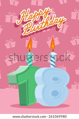 Happy Birthday Vector Design. Announcement and Celebration Message Poster, Flyer Flat Style Age 18 - stock vector