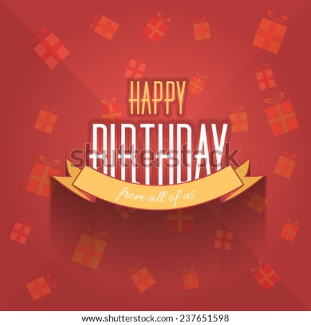 Happy Birthday Vector Design. Announcement and Celebration Message Poster, Flyer Red Background - stock vector