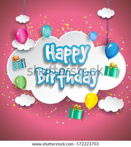 Happy Birthday Vector Design Greeting Cards Stock Vector 572223703