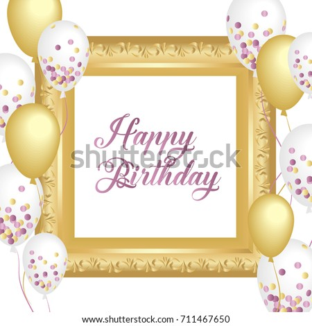 Happy Birthday Vector Design Golden Frame Stock Vector 711467650 ...