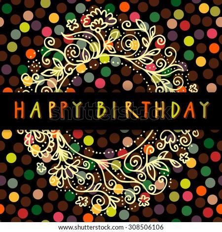 Happy Birthday Vector Doodle Greeting Card Stock Vector 308506106