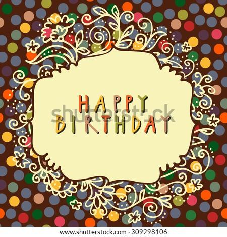 Happy Birthday Vector Doodle Greeting Card Stock Vector 309298106