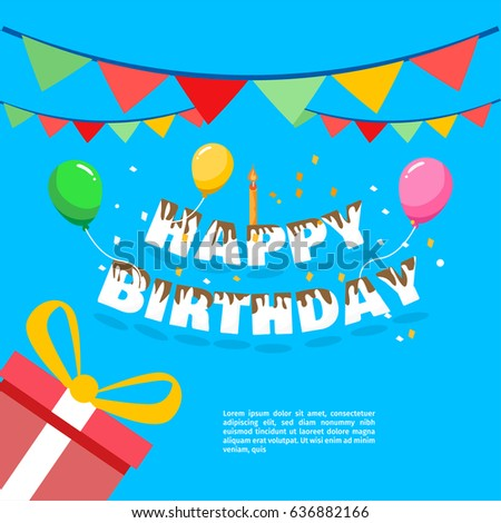 Happy birthday vector greeting card website stock vector 636882166 happy birthday vector for greeting card website invitation letter composition stopboris Gallery
