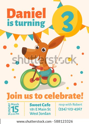 Happy birthday vector poster baby birthday stock vector 588123326 happy birthday vector poster baby birthday invitation with cute puppy dog riding a bike stopboris Gallery