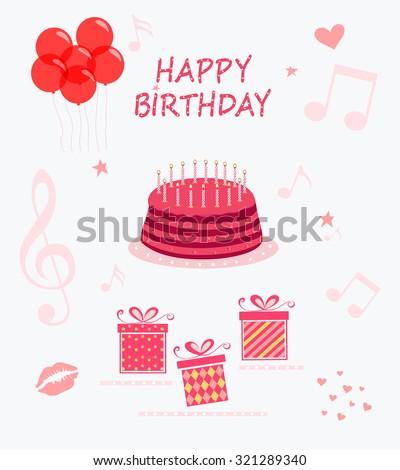 Happy Birthday, vector set - stock vector